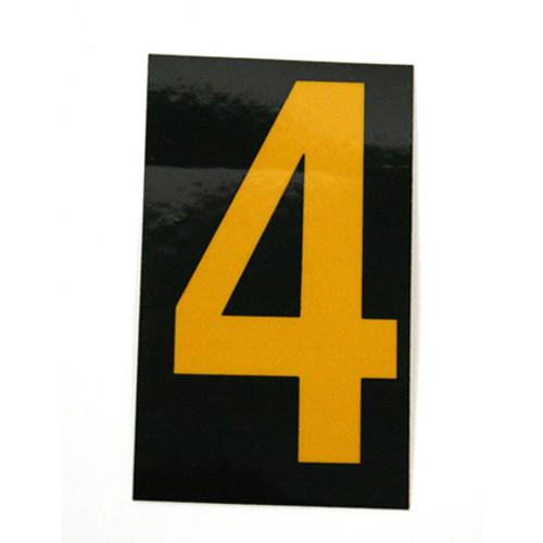 Number, 4, 2.5 Reflective Yellow Black, Pressure Sensitive Vinyl