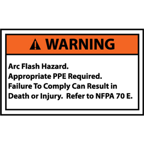Warning Arc Flash Hazard, 3x5 Pressure Sensitive Vinyl Safety Label, 5 Per Package