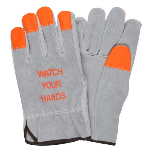 MCR Safety High-Vis Fingertip Split Leather Driver Gloves - 3100HVI