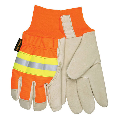 MCR Safety High-Vis Luminator Thermosock Lined Leather Palm Work Gloves - 3440