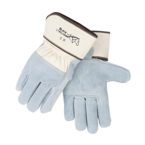 Black Stallion Split Cowhide Leather Palm Work Gloves - 5R
