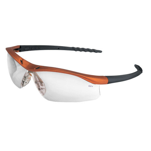 Crews Dallas Safety Glasses with Orange Frame and Clear Anti-Fog Lens