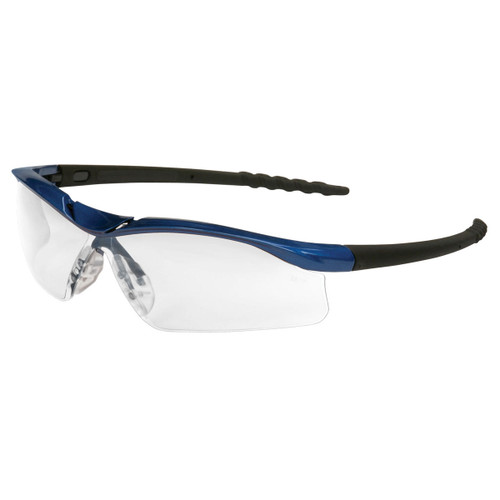 Crews Dallas Safety Glasses with Blue Metallic Frame and Clear Anti-Fog Lens