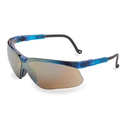Uvex Genesis Safety Glasses w/ Blue Frame & Mirror Lens