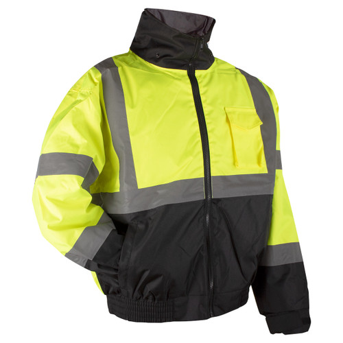 Rugged Blue Class 3 High-Vis Bomber Jacket with Black Bottom