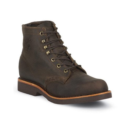 "Chippewa Men's 6"" Classic Chocolate Apache Boots Soft Toe - SIZE 9"
