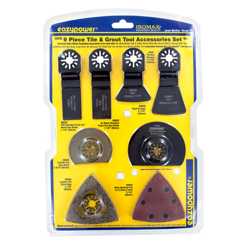 9 Piece Oscillating Tile & Grout Tool Accessories Set