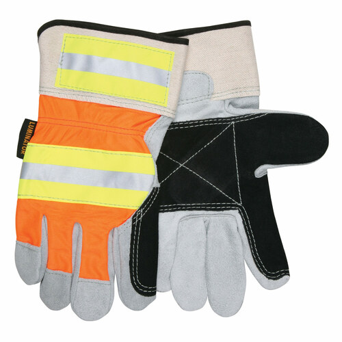 MCR Safety Luminator High-Vis Leather Palm Work Gloves - 14401DP