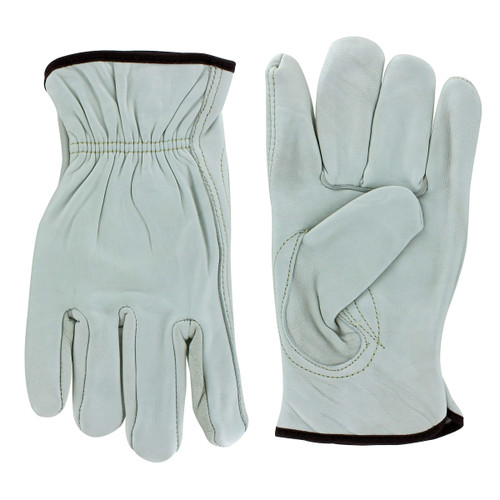 Rugged Blue Economy Cowhide Leather Driver Gloves