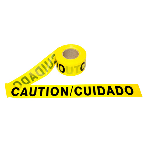 Caution/Cuidado Bilingual 2 mil Barricade Safety Tape - 3in x 1000ft