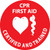 """CPR First Aid Certified and Trained, 2"""", Pressure Sensitive Vinyl Hard Hat Emblem, 25 per Pack"""