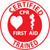 "Certified CPR First Aid Trained, 2"", Pressure Sensitive Vinyl Hard Hat Emblem, 25 per Pack"