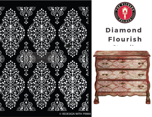 Diamond Flourish Stencil from ReDesign for furniture, walls and whatever you dream up!