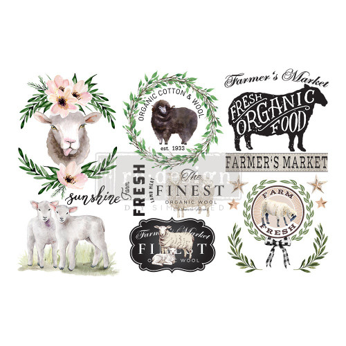 LITTLE LAMB SHEEP Small Rub On Furniture Transfer from ReDesign Prima with Free Shipping, 12 x 6