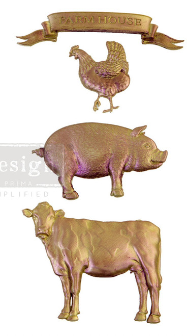 Farm Animal Mold with Cow, Chicken, Rooster, Pig Mold, Redesign with Prima Decor  , Free Shipping