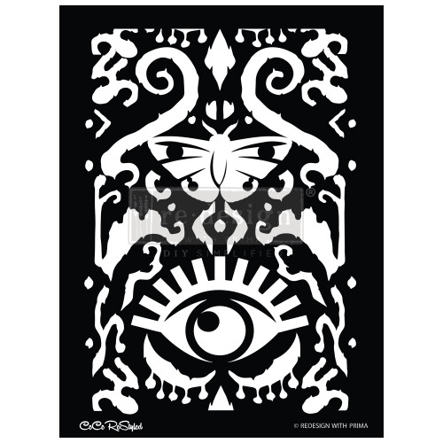 Cece Restyled All Seeing Ikat Stencil from ReDesign  with Prima for furniture, walls and whatever you dream up!