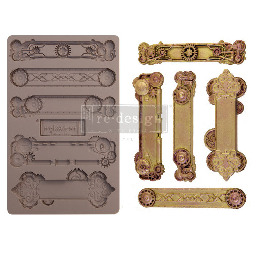 Steampunk Plates Mold from  Redesign with Prima Decor  5 x 8 Silicone Mold