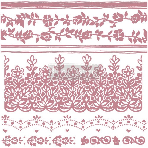 Floral Borders Clearly Aligned Decor Stamp from  Redesign with Prima