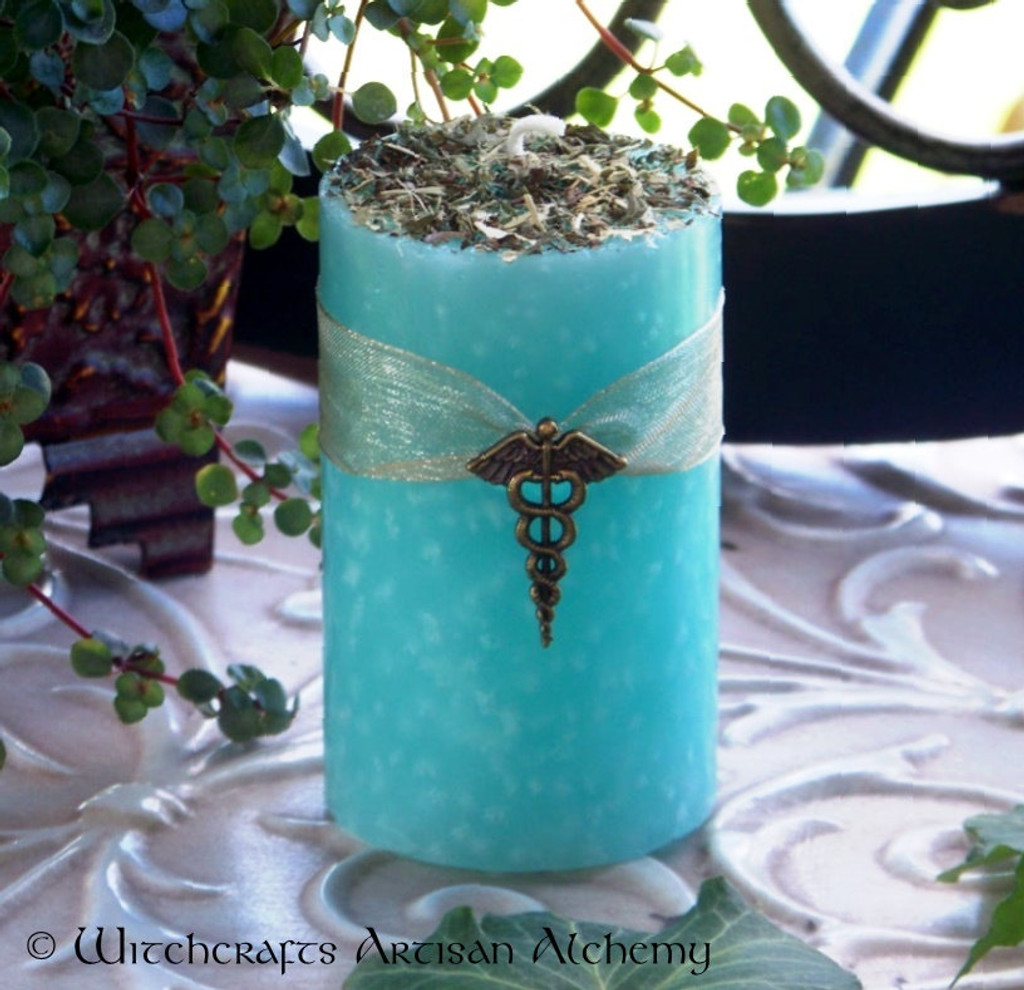 WITCH DOCTOR Herald of Health Caduceus Charmed Pillar Candle