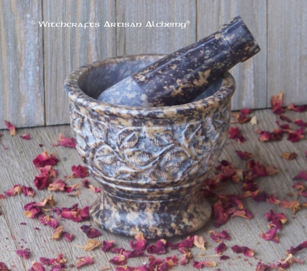 GREENWITCH Floral Hand Carved Soapstone Mortar & Pestle