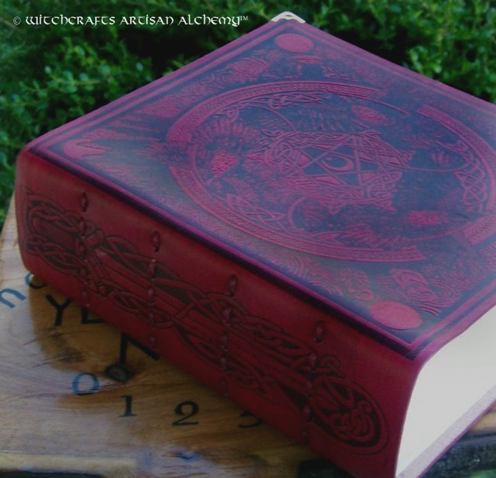 WITCH QUEEN Morrigan Book of Shadows - Bordeaux Red Leather Bound BOS