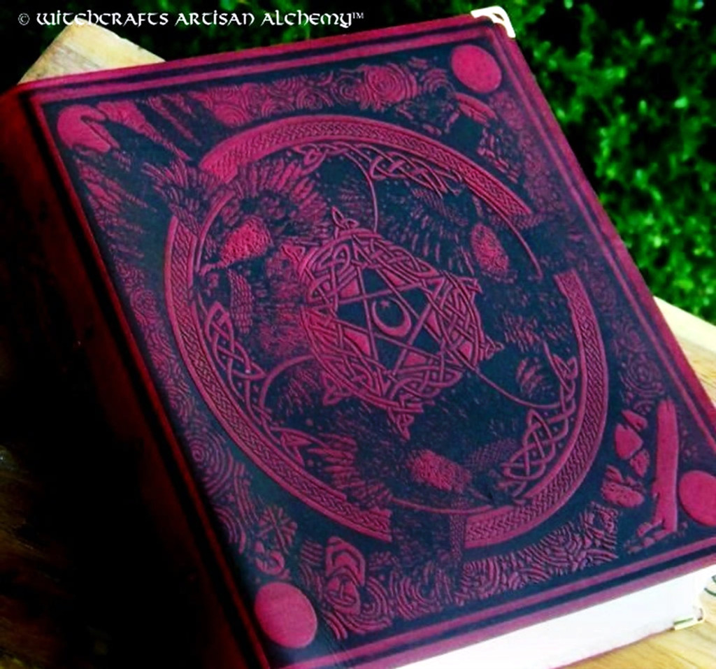 """MORRIGAN """"Witch Queen"""" Book of Shadows - Bordeaux Red Leather Bound BOS"""