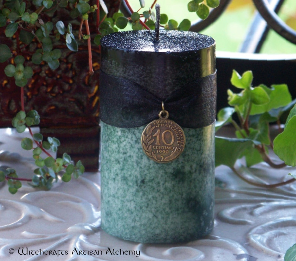 WITCH'S MAGIC MONEY Double Action Black Over Green Pillar Candle