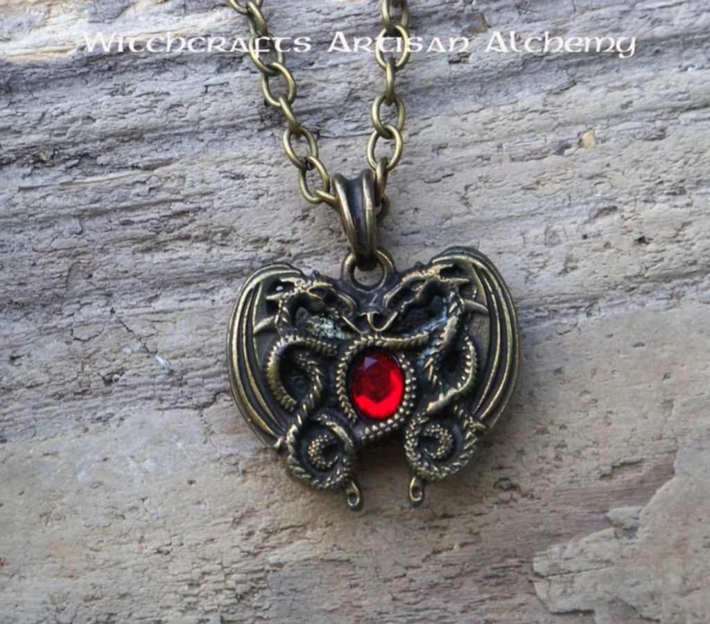DRAGON HEART Antiqued Brass Double Faced Amulet Pendant Necklace