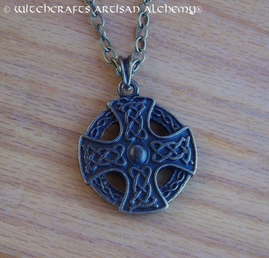 CELTIC SUNWHEEL CROSS Antiqued Brass Double Faced Amulet Pendant Necklace