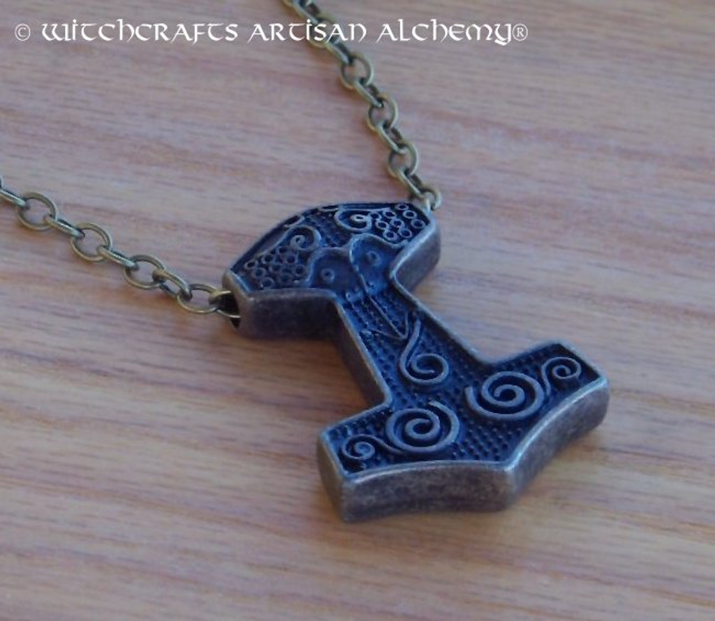 ANSGARD THOR'S HAMMER Antiqued Brass Mjölnir Double Faced Amulet Pendant Necklace