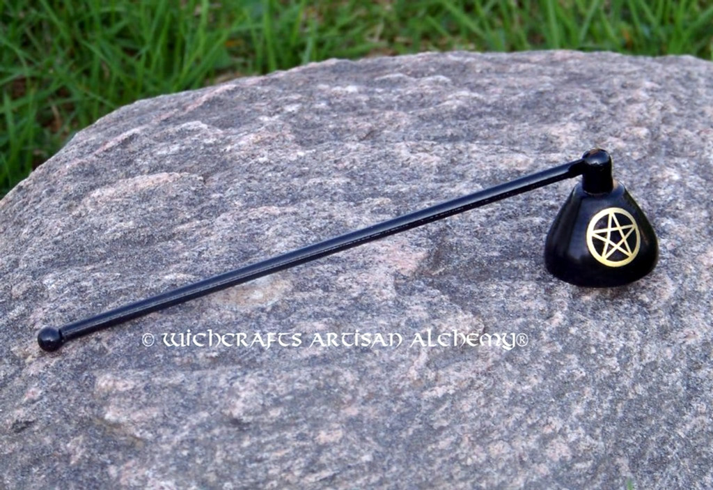 """Gold PENTACLE Black Long Handle Candle Snuffer 7"""""""