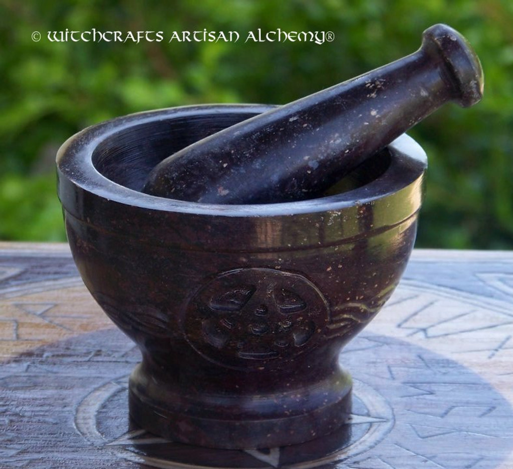 CELTIC BAND PENTACLE Carved Stone Mortar & Pestle