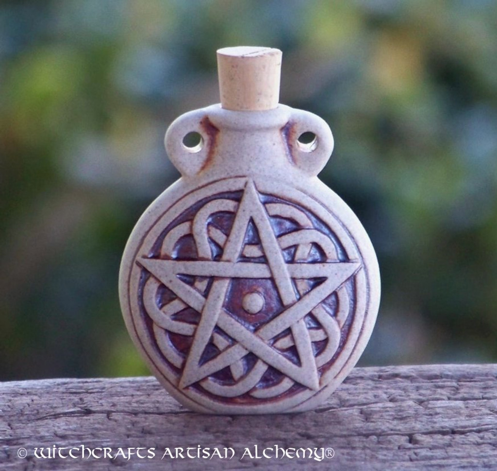 PENTACLE Fired Clay Pendant Potion Bottle
