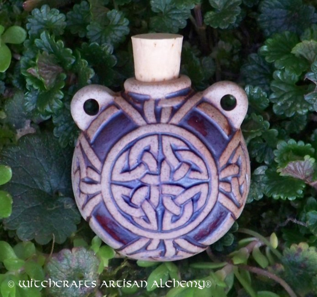 CELTIC KNOT Fired Clay Pendant Potion Bottle