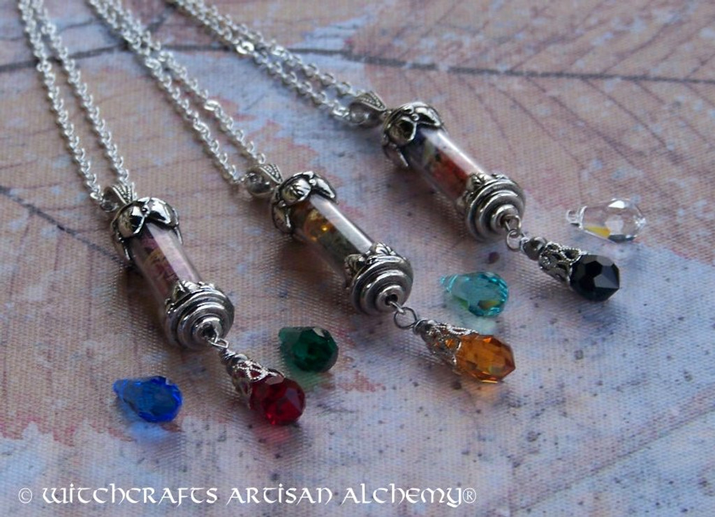 SPIRIT OF MAGIC Personalized Alchemy Talisman Pendant Necklace w/ Swarovski Crystal Drop