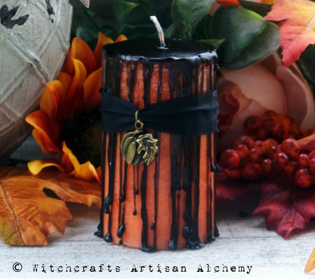 WICKED PUMPKIN Samhain Sabbat Black Dripping Orange Pillar Candle