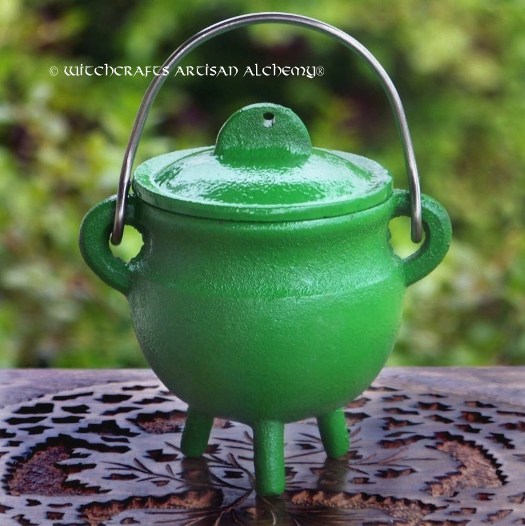GREENWITCH Green Cast Iron Cauldron w/ Lid