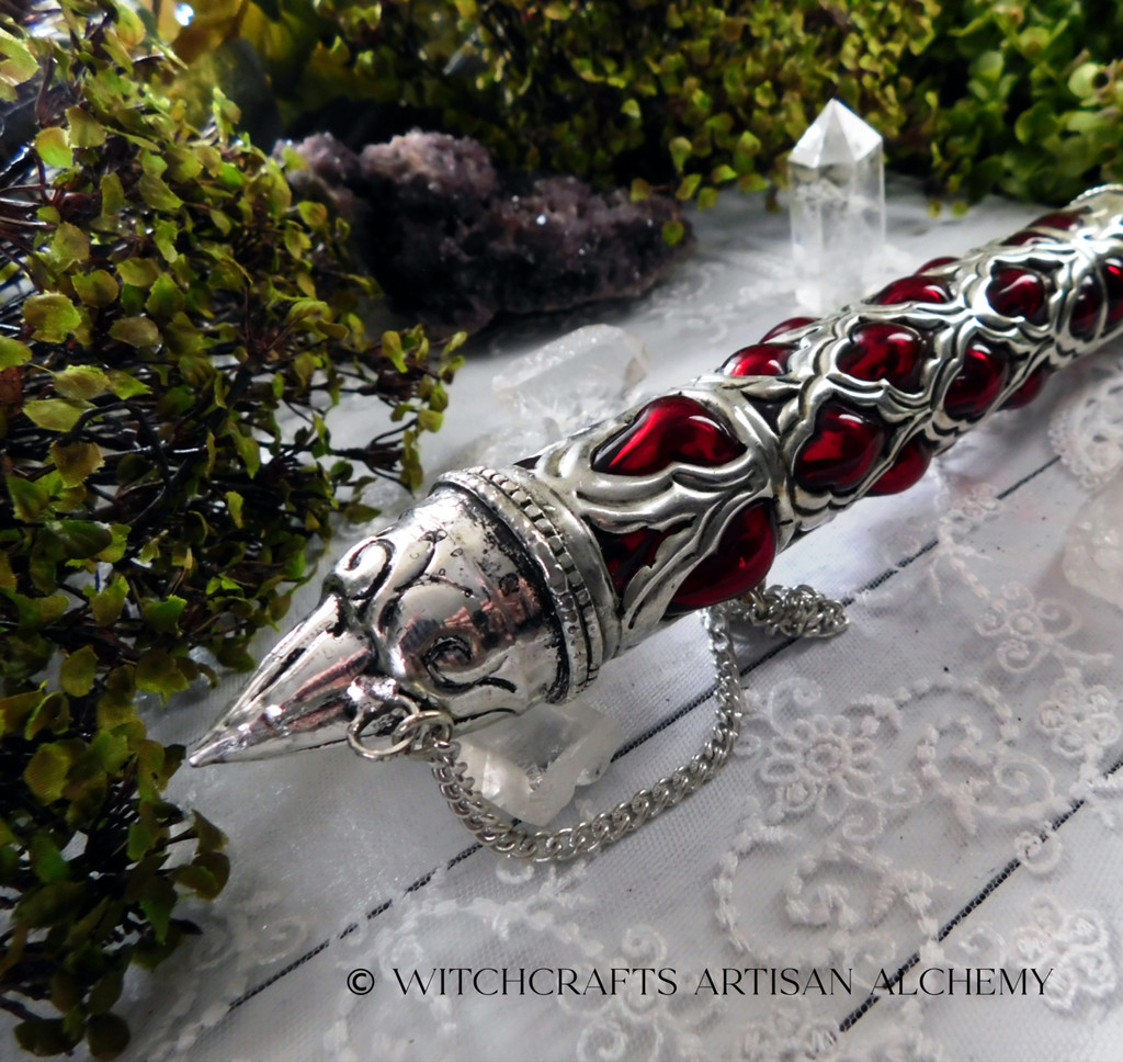 GOTHIC Medieval Magic Red Glass and Metal Lattice Stick Incense Storage Case
