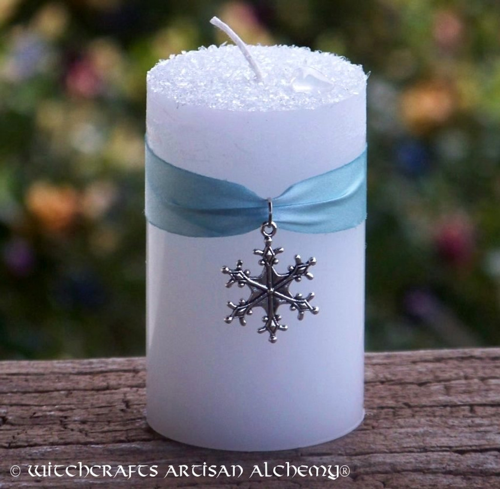 WINTER DIAMONDS Snowflake Pillar Candle