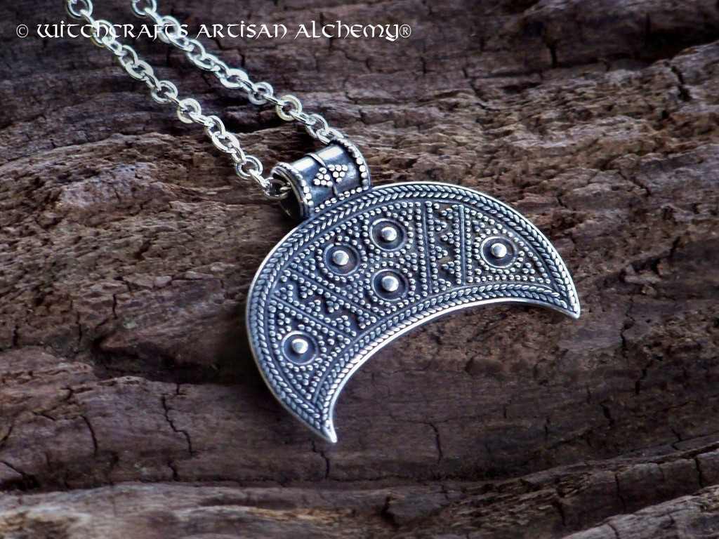 LUNULA Slavic Moon Goddess Sterling Silver Pendant Necklace