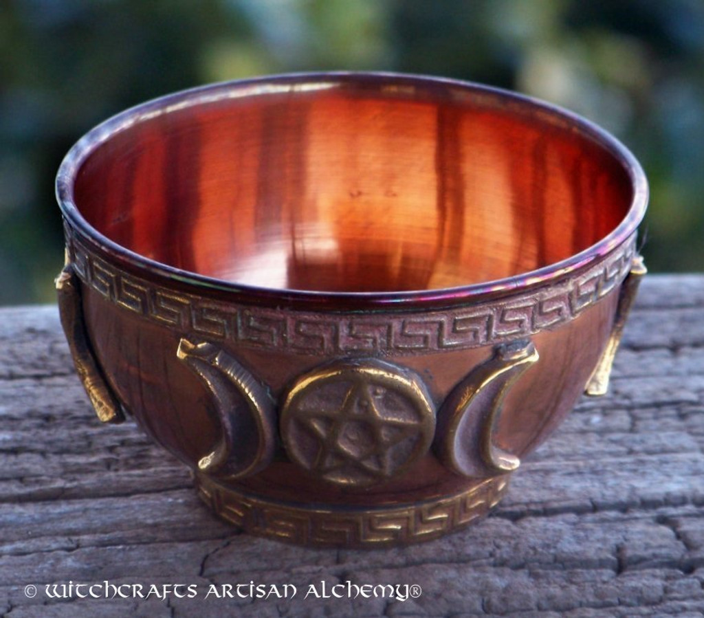 MOONFIRE Triple Moon Pentacle Copper Altar Offering Bowl