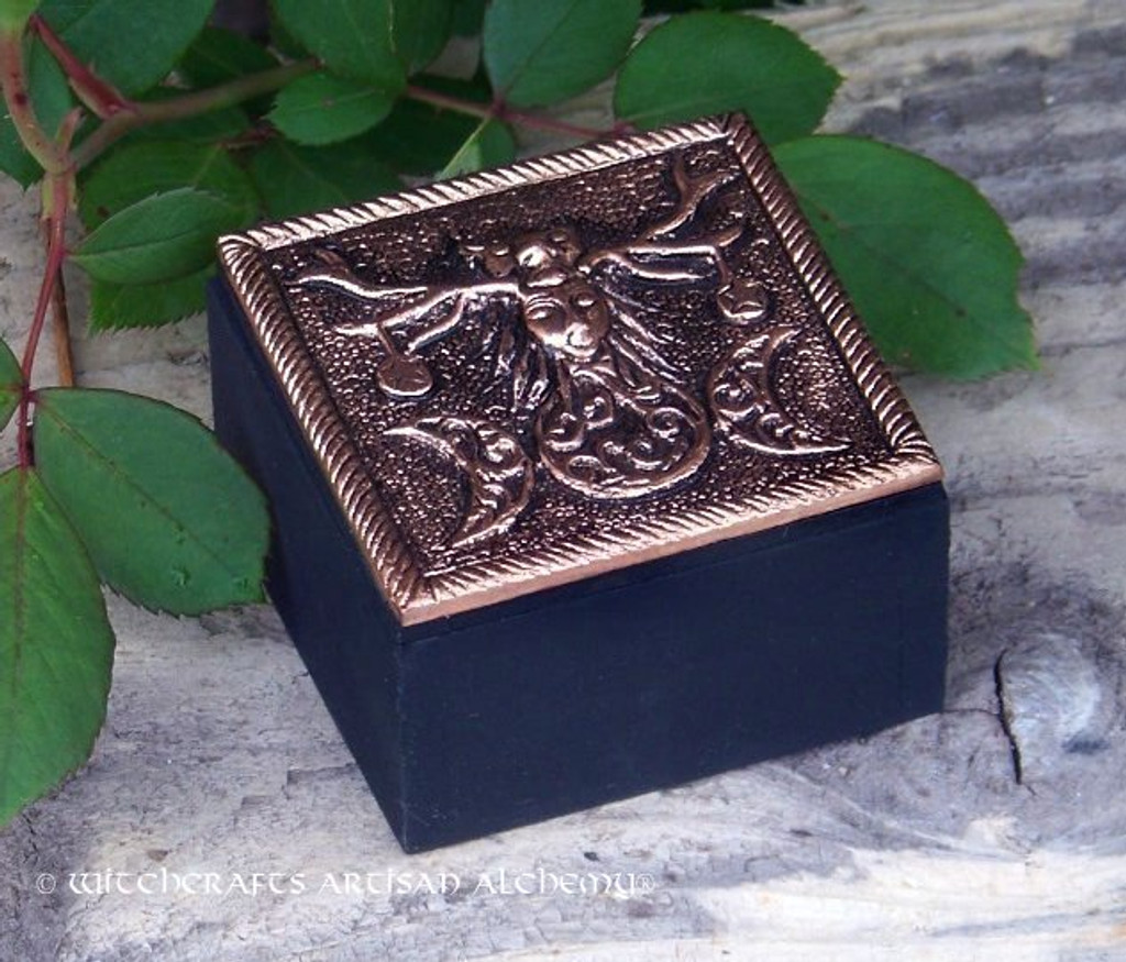 HORNED DEITY Triple Moon Bronze Metal and Wood Trinket Box