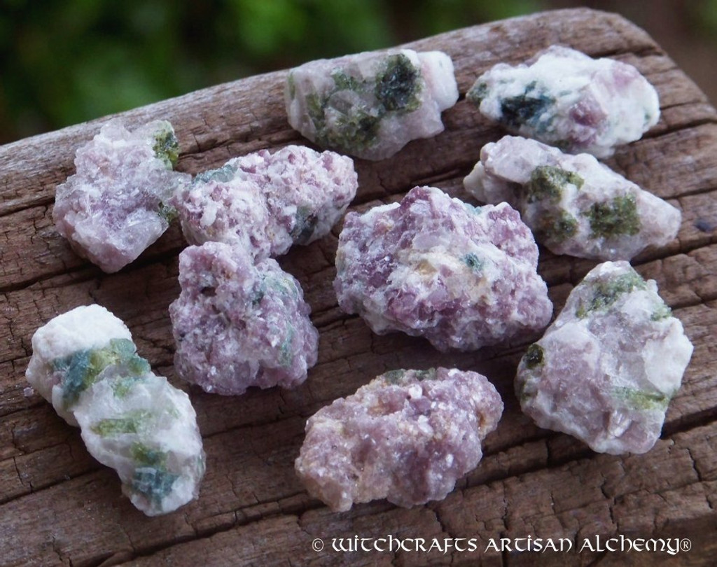 LEPIDOLITE w/ GREEN TOURMALINE Natural Rough Crystal