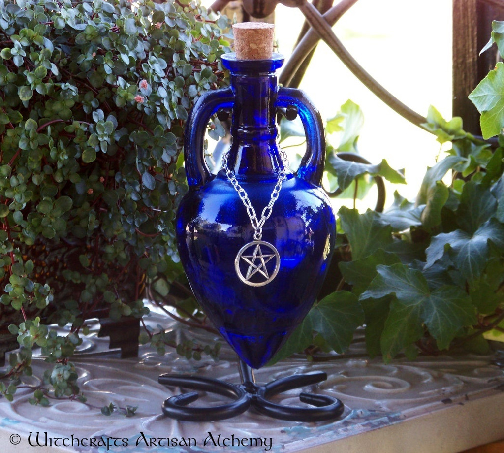 BLUE MAGIC Cobalt Blue Amphora w/ Stand, Optional Silver Pewter Pentacle Adornment