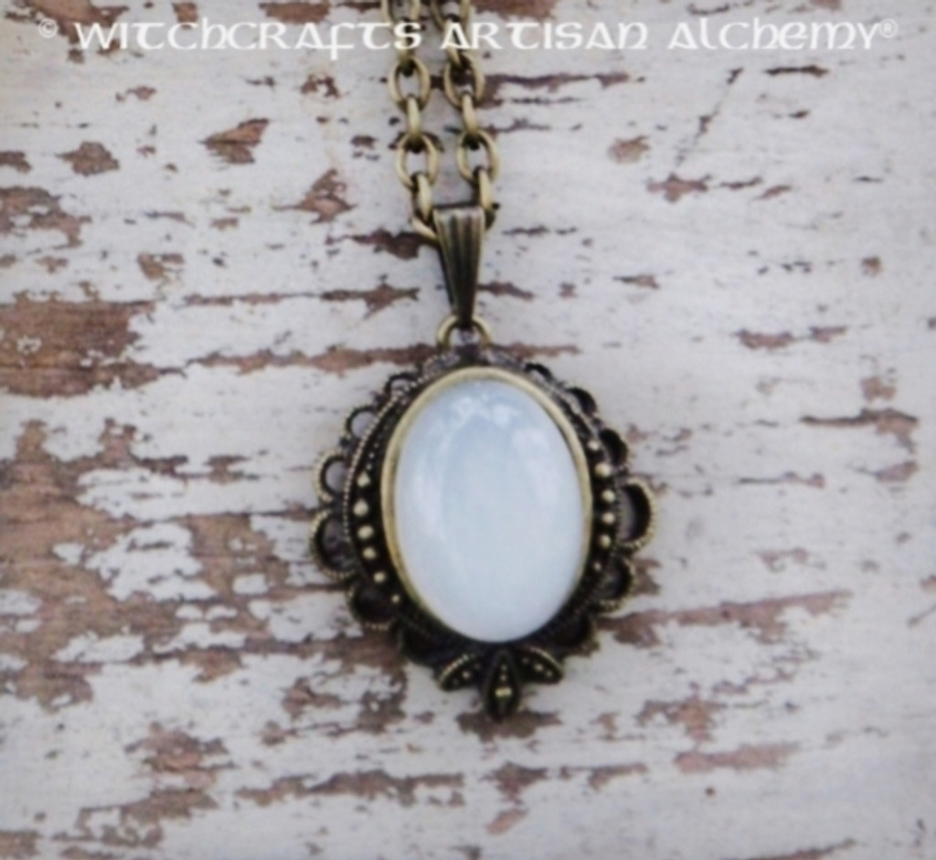 MOON MAGIQUE Moonstone Oval Gemstone Pendant Necklace