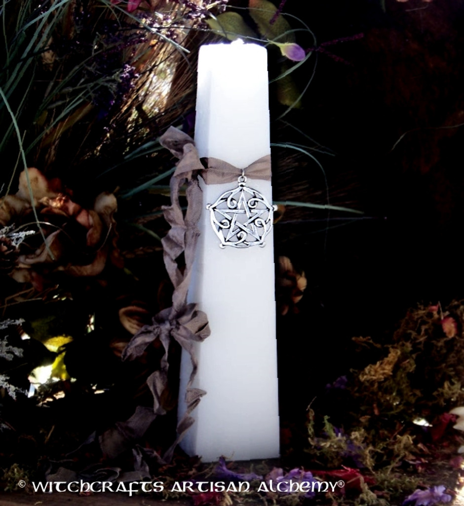 "VÖLVA Pentagram of Brisingamen ""Old European Witchcraft"" Tapered Square White Pillar Candle"
