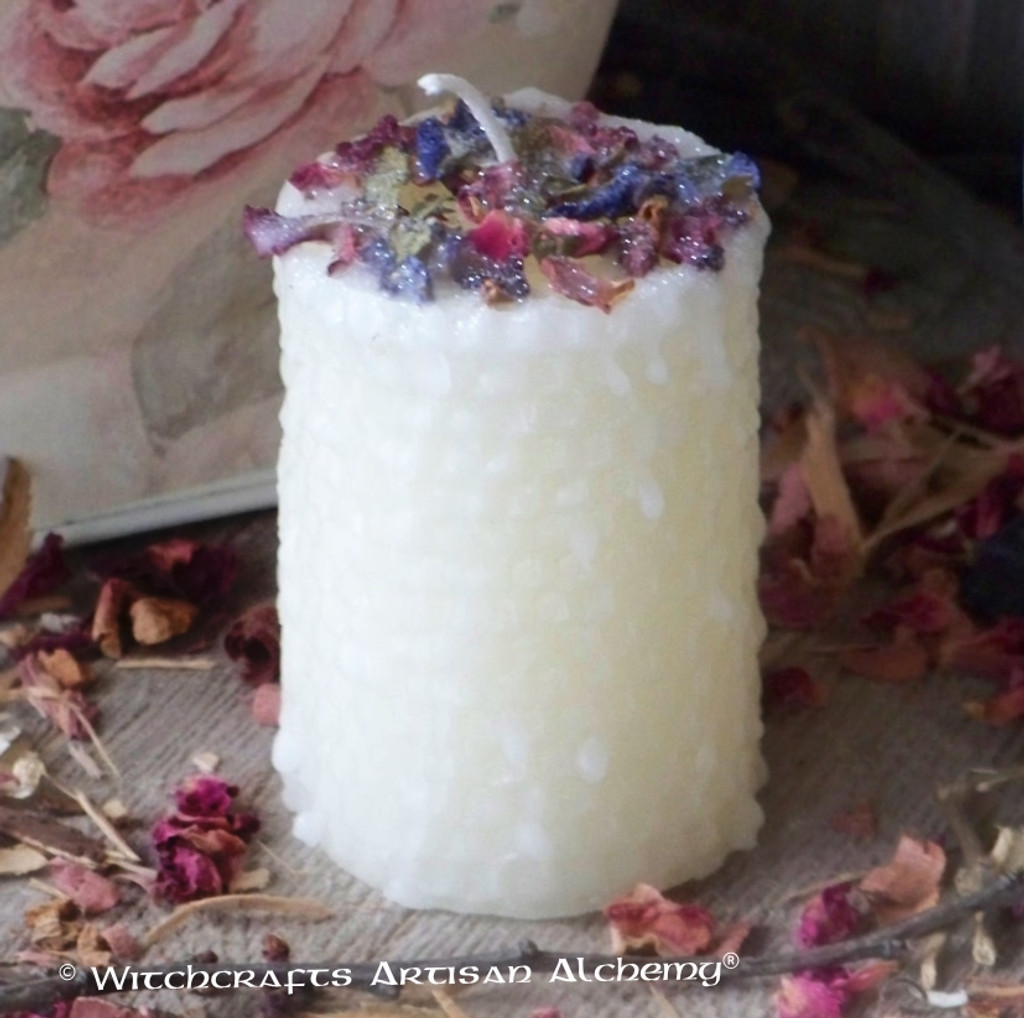 BLESSED Ivory Beeswax Hand Poured Pillar Candle w/ Hand Rolled Look