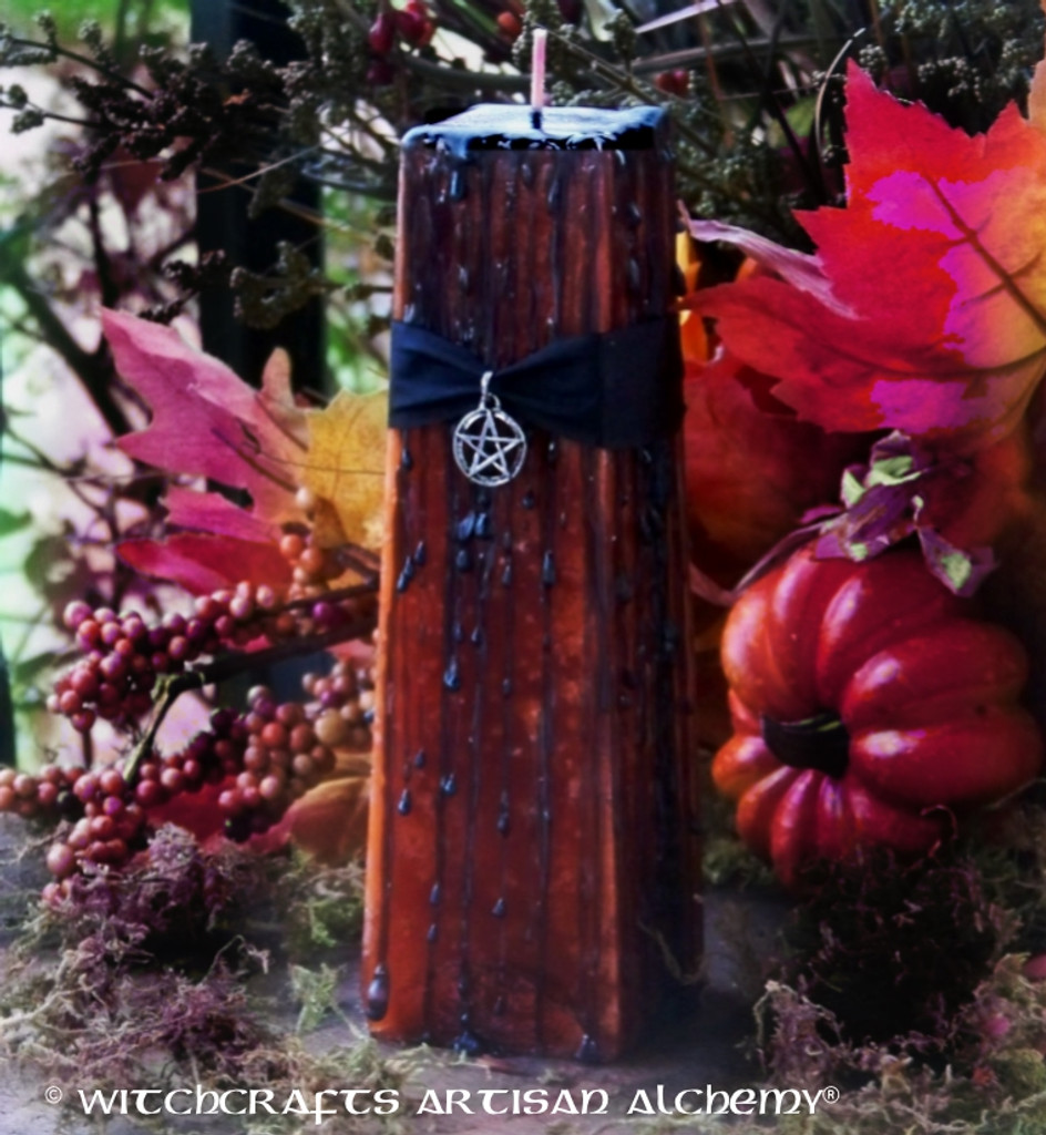 "HAUNTED PUMPKIN ""Old European Witchcraft""Square Tapered Pillar Candle"