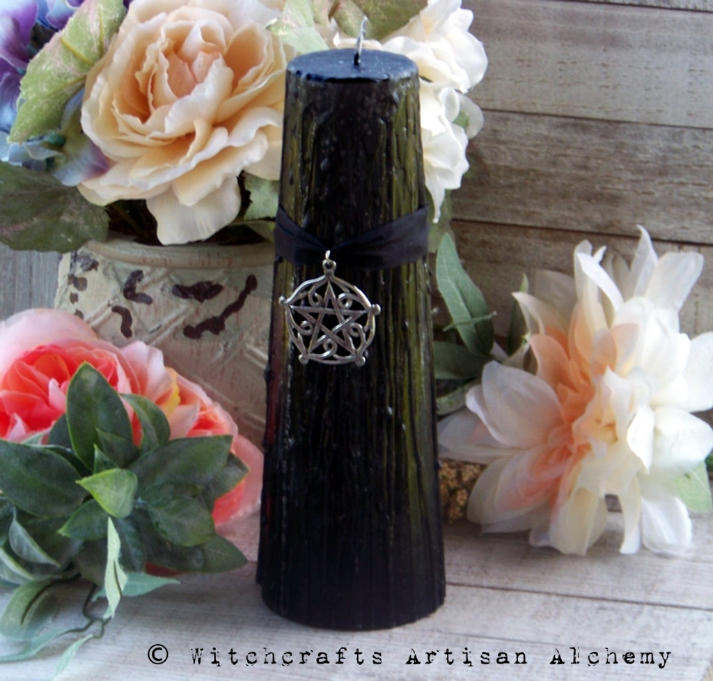 BLACK CAULDRON BREW Pentagram of Brisingamen Signature Scent Thick Tapered Round Pillar Candle