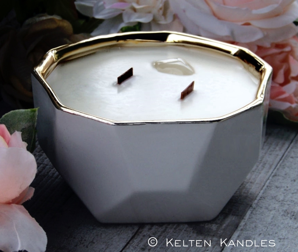 MOONSTONE Embedded Coco Apricot Crème Luxury Wax Ceramic Geode Bowl Candle